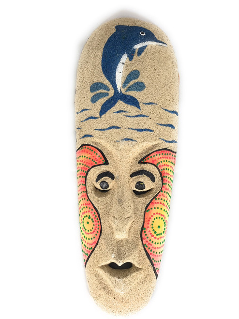 "Beach Sand Mask 12"" w/ Dolphin - Decorative Primitive Art   #wib370730a"