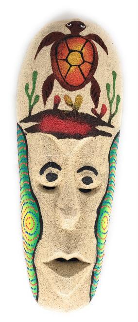 "Sand Tiki Mask 12"" w/ Turtle - Decorative Primitive Art | #wib370730b"