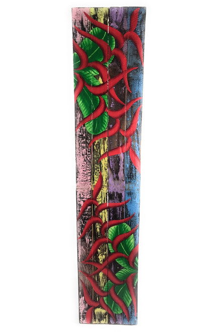 """Heliconia Flower Painting on Wood Planks 40"""" X 8"""" Rustic Wall Decor 