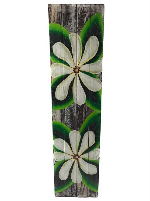 "Tiare Flower Painting on Wood Planks 20"" X 5"" Rustic Wall Decor 
