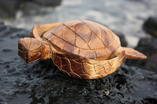 "Carved Hawaiian Turtle Honu 8"" Natural - Hand Carved"