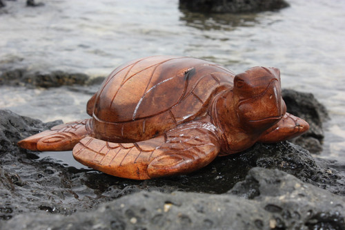 "Carved Hawaiian Turtle Honu 16"" Stained - Hand Carved 