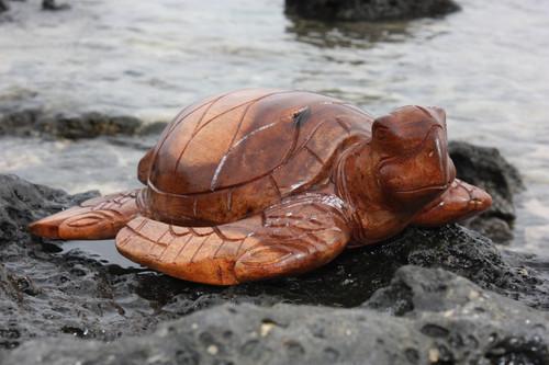"Carved Hawaiian Turtle Honu 16"" Stained - Hand Carved | #yu40340b"