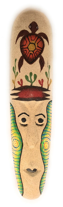 "Sand Tiki Mask 20"" w/ Turtle - Decorative Primitive Art 