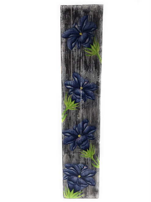 """Gentian Flower Painting on Wood Planks 40"""" X 8"""" Rustic Wall Decor 