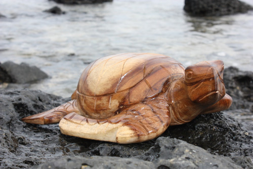 """Carved Hawaiian Turtle Honu 16"""" Natural - Hand Carved"""