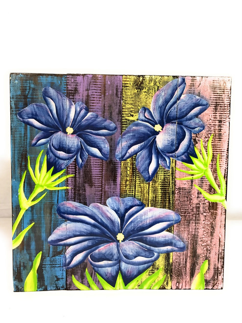 "Flower Painting on Wood Planks 16"" X 16"" Rustic Wall Decor 