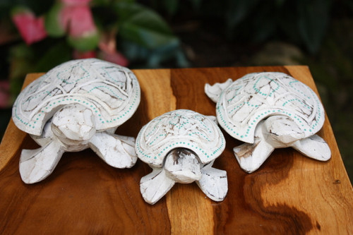 Set of 3 Turtles Ashtray/Keepsake Boxes Off White | #wib3709