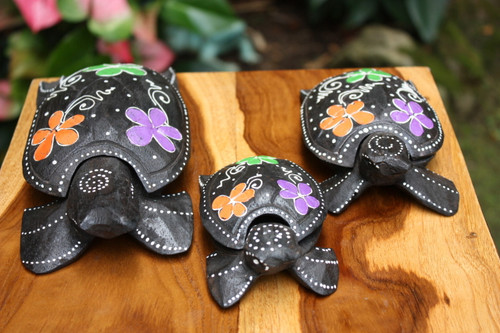Set of 3 Turtles Ashtray/Keepsake Boxes Floral | #wib3710