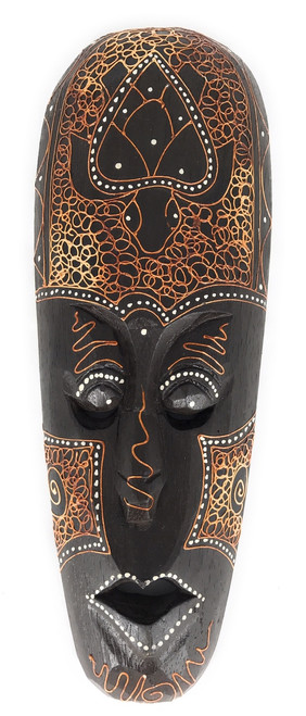 "Tribal Mask 12"" w/ Turtle - Primitive Art Tiki | #wib370430f"