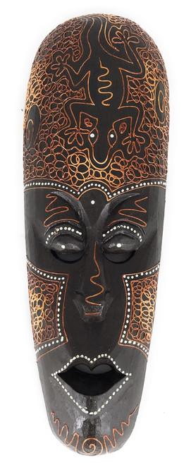 "Tribal Mask 12"" w/ Gecko - Primitive Art   #wib370430h"