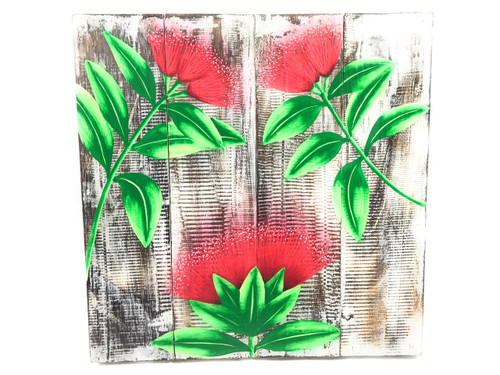 "Ohia Flower Painting on Wood Planks 16"" X 16"" Rustic Wall Decor 