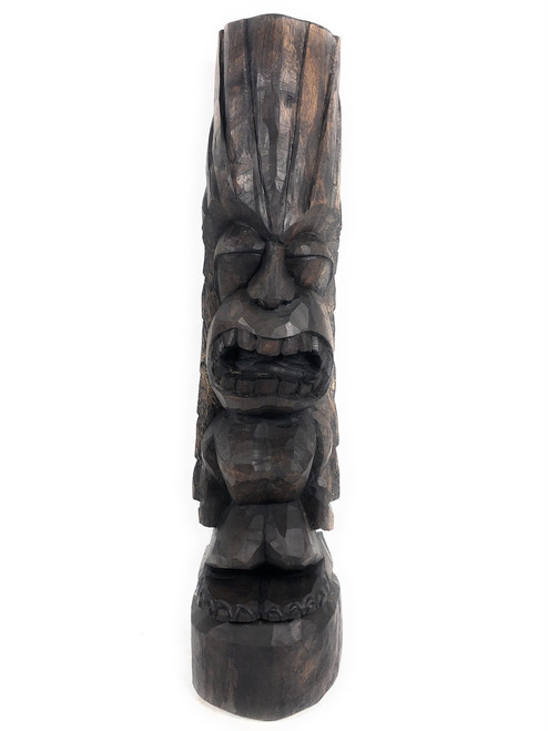 "Love Tiki Totem 26"" Stained Hand Carved 