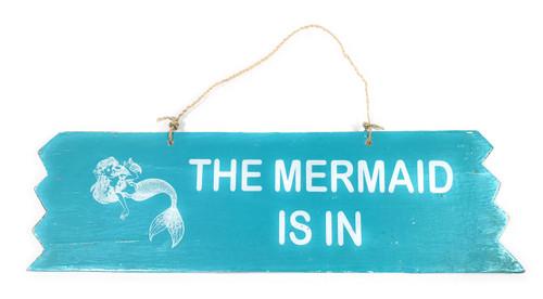 "Cute ""The Mermaid Is In"" Wooden Sign 12"" X 4"" - blue | #snd25115b"
