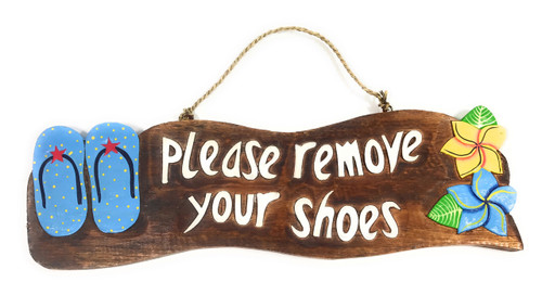 """""""Please Remove Your Shoes"""" Beach Sign w/ Slippers 17"""" - Blue   #snd25126b"""