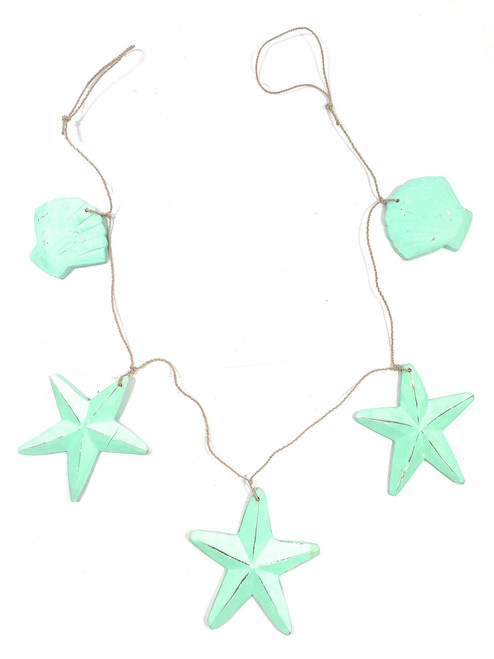 "Garland w/ 3 Starfish and 2 Shells 40"" - Turquoise
