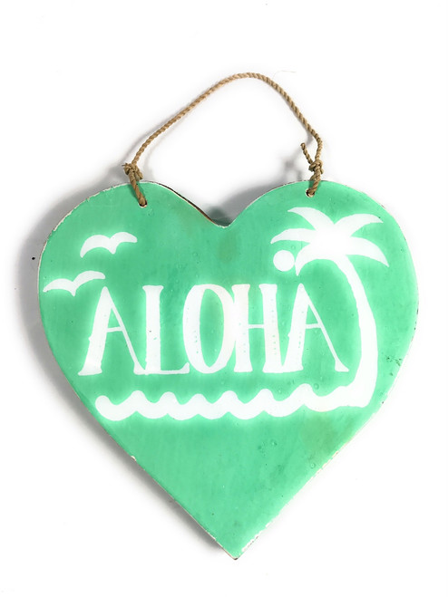 """Aloha"" Heart Sign 5"" - Turquoise 