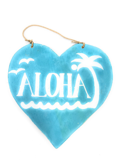 "Wooden ""Aloha"" Heart Sign 5"" - Blue 