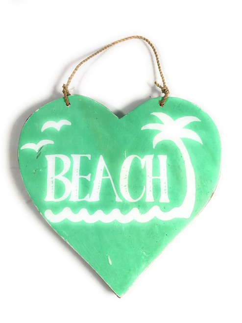 """Wooden """"Beach"""" Heart Sign 5"""" - Turquoise 