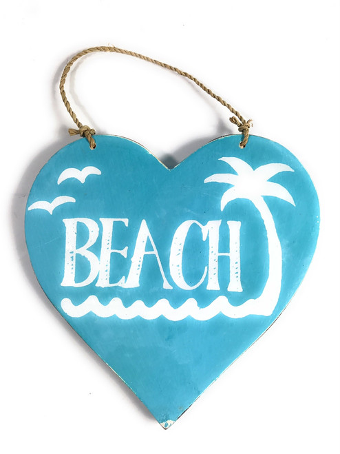 "Wooden ""Beach"" Heart Sign 5"" - Blue 