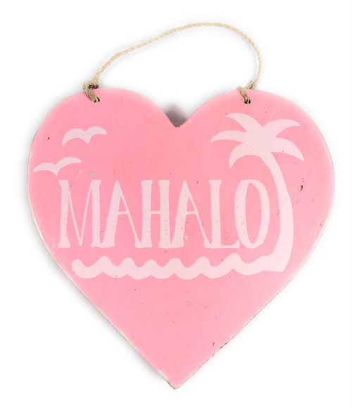 """Wooden """"Mahalo"""" Heart Sign 5"""" - Pink   #snd25117p"""