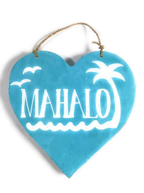 "Wooden ""Mahalo"" Heart Sign 5"" - Blue | #snd25117b"