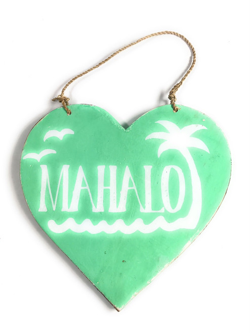 "Wooden ""Mahalo"" Heart Sign 5"" - Turquoise 