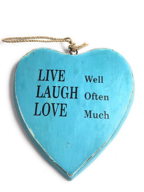 """LIVE well, LAUGH often, LOVE much"" Heart Sign 5"" Blue | #snd25101b"