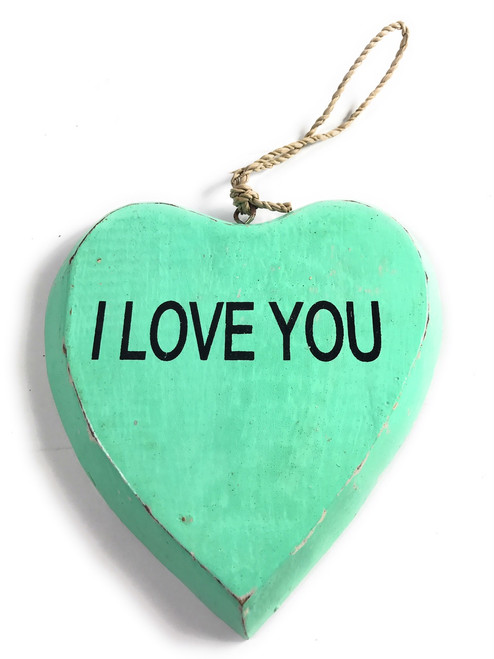 "Wooden ""I LOVE YOU"" Heart Sign 5"" - Turquoise 