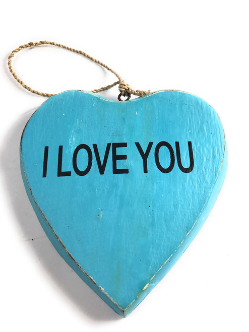 "Wooden ""I LOVE YOU"" Heart Sign 5"" - Blue 