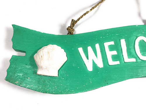 """""""Welcome"""" Wooden Sign w/ seashell 12"""" X 4"""" - Mint   #snd25095"""