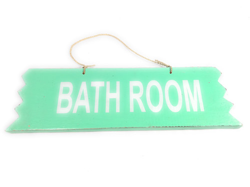 "Cute ""Bathroom"" Wooden Sign 12"" X 4"" - Turquoise 