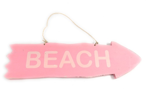 "Arrow Sign ""Beach"" Wooden 12"" X 4"" - Pink 