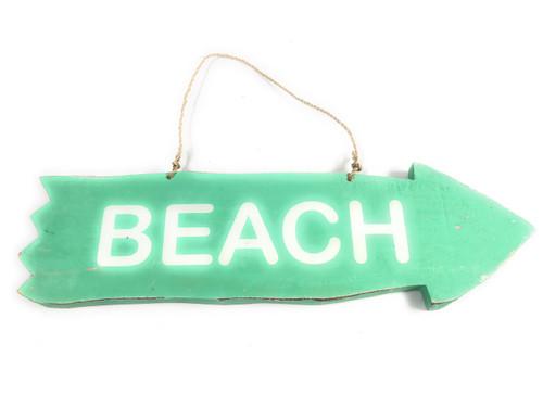 "Arrow Sign ""Beach"" Wooden 12"" X 4"" - Turquoise | #snd25106t"