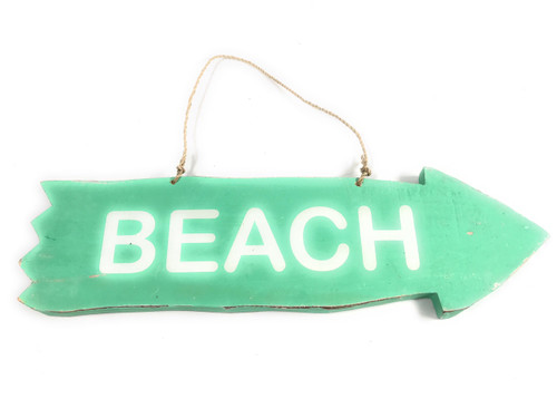 "Arrow Sign ""Beach"" Wooden 12"" X 4"" - Turquoise 