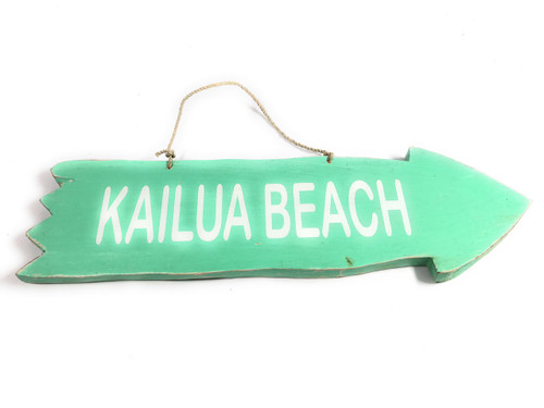 "Arrow Sign ""Kailua Beach"" Wooden 12"" X 4"" - Turquoise 
