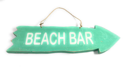 "Arrow Sign ""Beach Bar"" Wooden 12"" X 4"" - Turquoise 