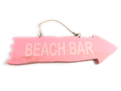 "Arrow Sign ""Beach Bar"" Wooden 12"" X 4"" - Pink 