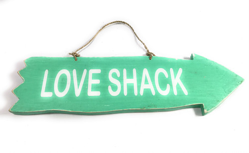 """Arrow Sign """"Love Shack"""" Wooden 12"""" X 4"""" - Turquoise 