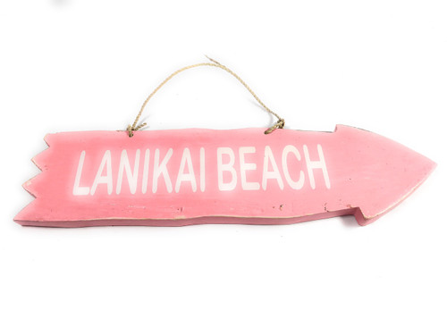"Arrow Sign ""Lanikai Beach"" Wooden 12"" X 4"" - Pink 