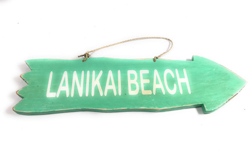 "Arrow Sign ""Lanikai Beach"" Wooden 12"" X 4"" - Turquoise 