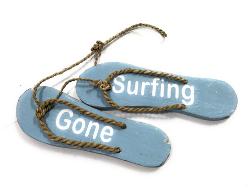 """Pair Of Wooden Slippers """"Gone Surfing"""" Hanging Sign 8"""" - Blue 