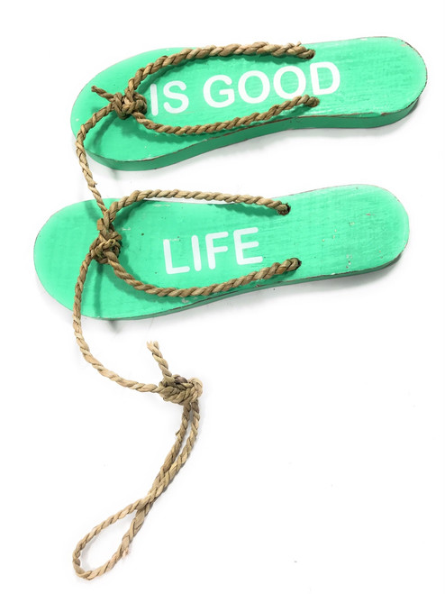 """Pair Of Wooden Slippers """"Life Is Good"""" Hanging Sign 8"""" - Mint 