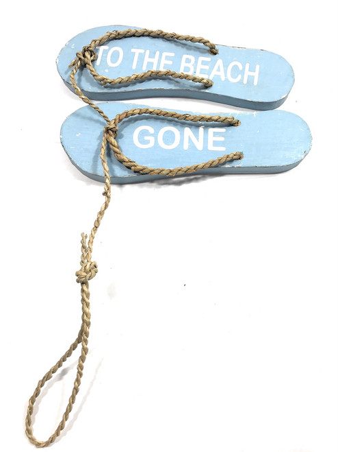 "Pair Of Wooden Slippers ""Gone To The Beach"" Hanging Sign 8"" - Blue 