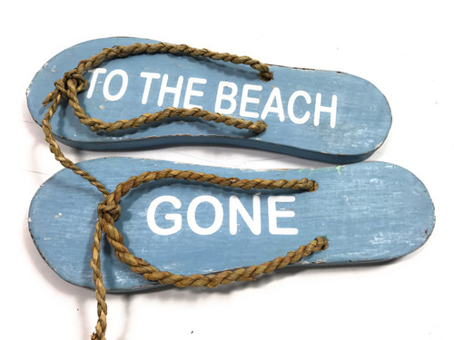 """Pair Of Wooden Slippers """"Gone To The Beach"""" Hanging Sign 8"""" - Blue 