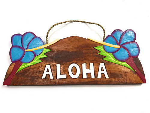 """Aloha"" w/ Hibiscus Wooden Sign 11"" X 4.5"" - Blue | #snd25108b"