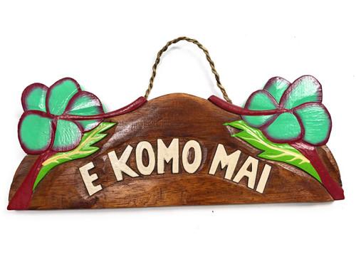 """E Komo Mai"" w/ Hibiscus Wooden Sign 11"" X 4.5"" - Turquoise | #snd25119"