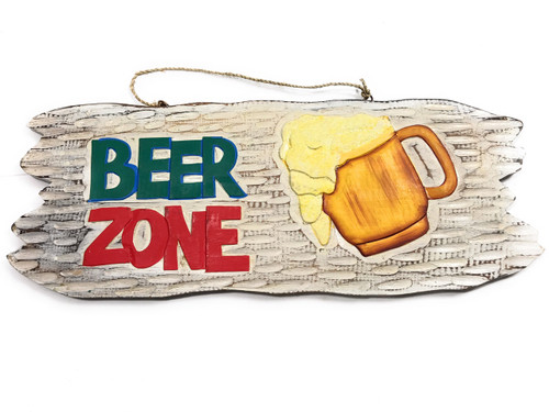 """Tiki Bar """"Beer Zone"""" Wooden Sign Happy Hour Sign 20"""" 