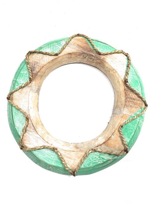 "Life Preserver w/ Rope 12""  - Whitewash & Turquoise | #snd25089"