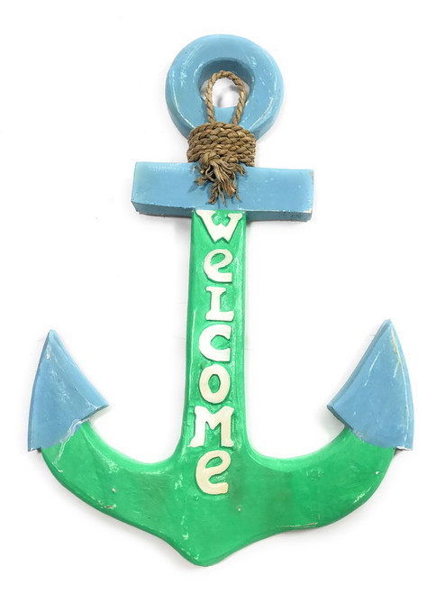 """Welcome Anchor 16""""  Wall Hanging - Blue & Turquoise 